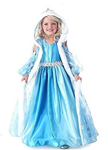 Kostuum Frozen Elsa jaar 140 7-8 sneeuwkoningin Queen jurk met muts en mantel meisjes-meisjes-carikatuur-satijnboog (controleer de grootte van de maatregelen in centimeters)