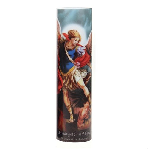 St Michael LED Flameless Devotion Prayer Candle, Religious Gift, 4 Hour Timer for More Hours of Enjoyment and Devotion!