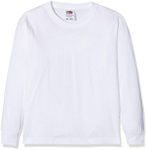 Fruit of the Loom Jungen Valueweight Long Sleeve T Kids Langarmshirt, Weiß (White 000), 104 (Herstellergröße: 3-4)