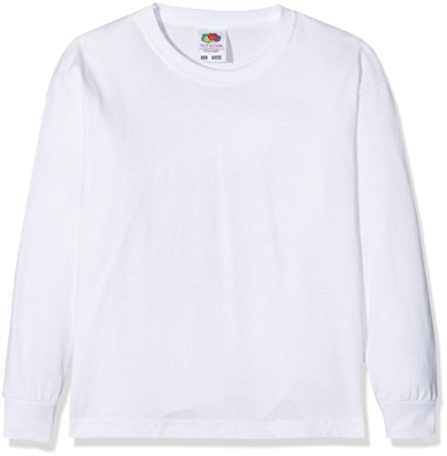 Fruit of the Loom Jungen Valueweight Long Sleeve T Kids Langarmshirt, Weiß (White 000), 128 (Herstellergröße: 7-8)