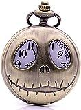 DIHAO Cool The Nightmare Before Christmas Reloj de Bolsillo de Cuarzo Hueco Colgante Collar Cadena Hombres Mujeres