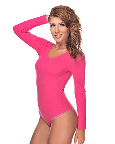 Krisli Damen Langarmbody mit Rundhals (L, pink)