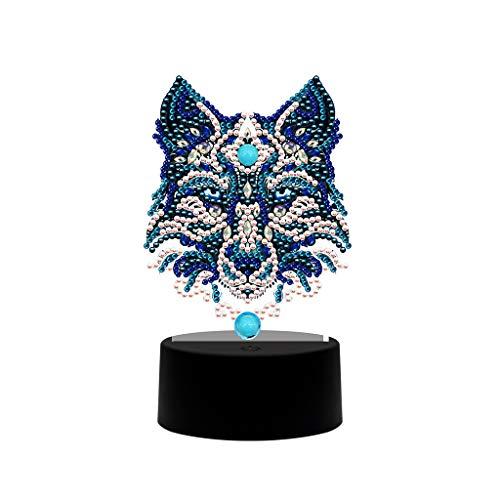 Wolf DIY - Pintura de diamante LED, luz nocturna, diseño de religión, forma especial, bordado de cruz, decoración principal