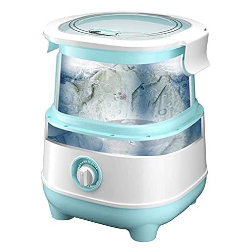 WLL-DP Mini Lavatrice E Asciugatrice Portatile Pieghevole, Lavatrice Veloce da 10 Minuti E Asciugatura A Rotazione di 3 Minuti, capacità di 6,6 Libbre per Risparmiare Acqua Ed Energia,Blu