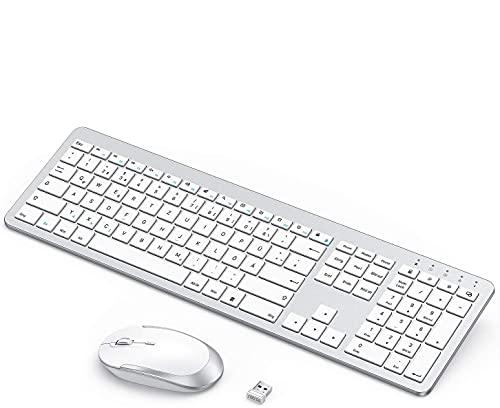 seend Tastatur Maus Set Kabellos, Wiederaufladbare Funk Tastatur Maus Set, Tastatur Kabellos mit Silikon Staubschutz für PC/Laptop/Smart TV usw