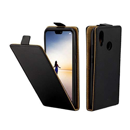 BEIJING  PROTECTISGGIOCOVER + Custodia in Pelle TPU Flip Verticale Stile Business for Huawei P20 Lite, con Slot schede, Cassa del Telefono della Protezione della Moda (Color : Nero)