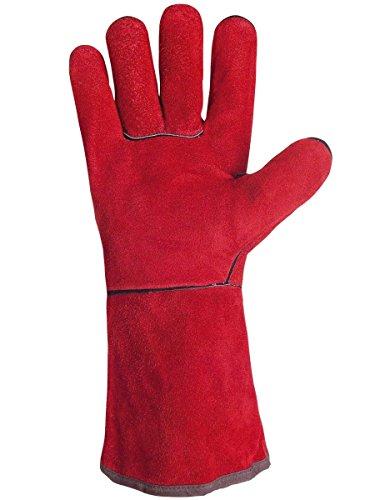 Paire de gants tout croûte de bovin. Entièrement doublé coton. 35 cm. Singer 51SIREP15 Taille 10