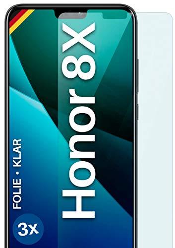 moex Protector de pantalla transparente compatible con Huawei Honor 8X – Protector de pantalla transparente, protector de pantalla HD, fino y resistente a los arañazos, 3 unidades