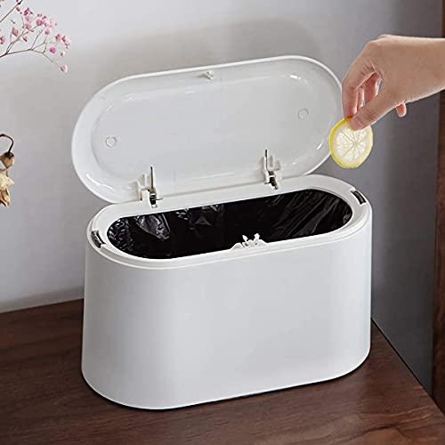 Lecone Mini papelera de escritorio con tapa a presión, con interior extraíble de plástico, con tapa, plegable, para escritorio, oficina (blanco)