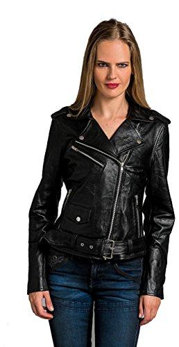 Urban Leather Damen Jacke Biker Perfecto Ladies, Schwarz, Große : XL