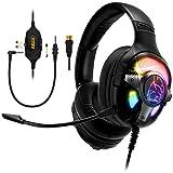 Empire Gaming – WarCry G-W10 Auriculares Gamer RGB -Sonido Envolvente 7.1 Virtual Software Incluido Antirruido -Compatible PS4, PS5, Xbox One/Series, PC, Mac -Mando a Distancia -Micrófono Desmontable