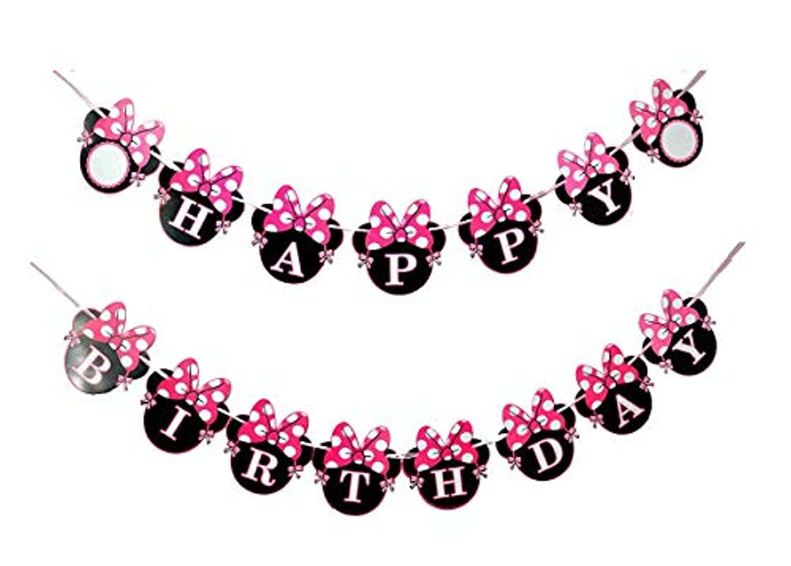 NEWTGAN Minnie Happy Birthday Banner, Mini Mouse Style Party Decorations, Party Supplies, Baby Shower Decor for Girls (Style 1)