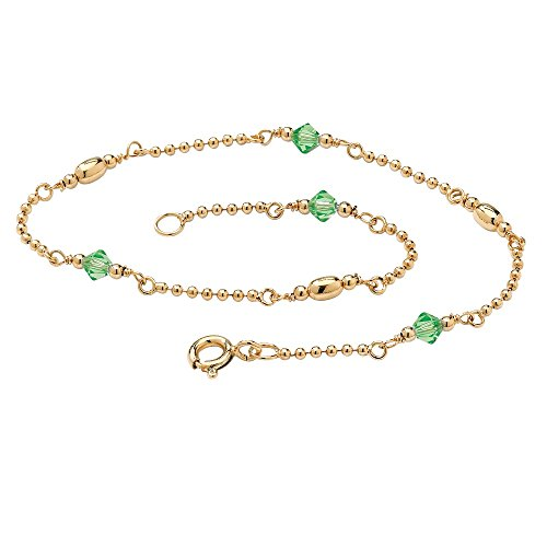 14K Gold over Silver Simulated Birthstone Ankle Bracelet (2mm), 11 inches green