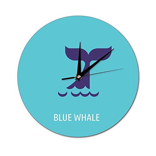 Mesllings - Reloj de Pared de Cristal con diseño de Ballena Azul (2 Unidades), diseño de balanza de Dibujos Animados, para Cocina, Oficina, Reloj de Pared Retro, Accesorios de decoración del hogar