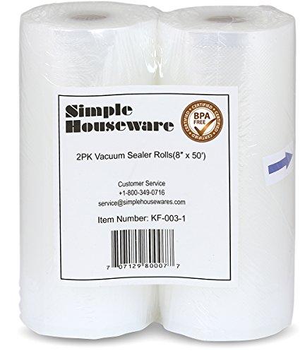Simple Houseware 2 Pack 8 Inch x 50 Feet Vacuum Sealer Rolls Food Storage Saver Commercial Grade Bag (Total 100 feet)