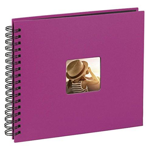 Hama Jumbo Fotoalbum, 36 x 32 cm, 50 schwarze Seiten, 25 Blatt, mit Ausschnitt für Bildeinschub, Fotobuch pink