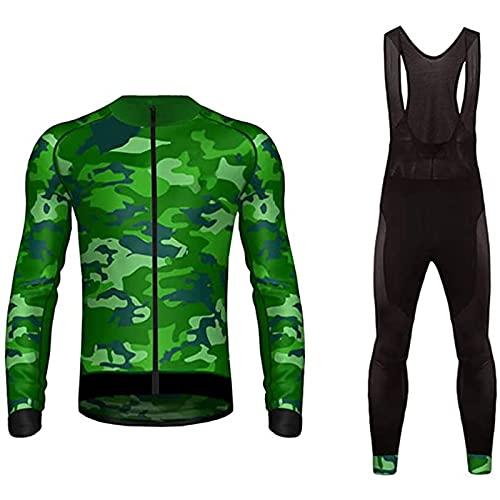 Set di Maglie Ciclismo in Pile Termico Uomo,Autunno Inverno Abbigliamento Bici Corsa MTB A Maniche Lunghe Traspirante Abbigliamento Triathon Team Bike(Top+Pantaloni) (Color : W, Size : XXL)