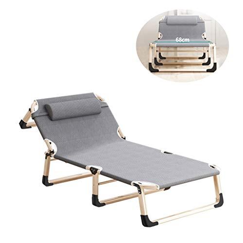 Hiker 折りたたみベッド 簡易ベッド キャンピングベッド レジャーベッド アウトドアチェア 組み立て簡単 4段階調整 室内 アウトドア用 仮眠/残業/防災用 枕付き 耐荷重 280kg (グレー)