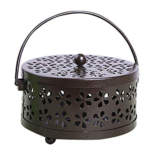 Mosquito Coil,Portable Galvanized Steel Mosquito Coil Holder, Classical Hollowed Design,Mosquito Coil Holder with Cover,for Home Outdoor, Traveling