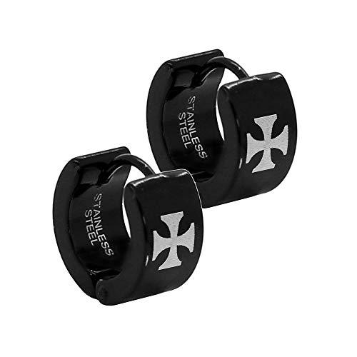 Tumundo 1 pair of stainless steel hoop earrings, black cross, stainless steel hoop earrings, Farbe2:schwarz/black/noir - 6mm x 13.5mm