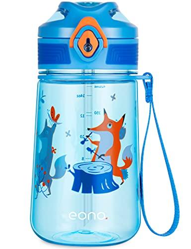 Amazon Brand - Eono Botella de Agua Niños, 420ml Reutilizable Tritan Plástico sin BPA Botella Agua Niños a Prueba de Fugas, con Pajita y Marcador, para Aire Libre Escuela, Deportes (Azul, Zorro)