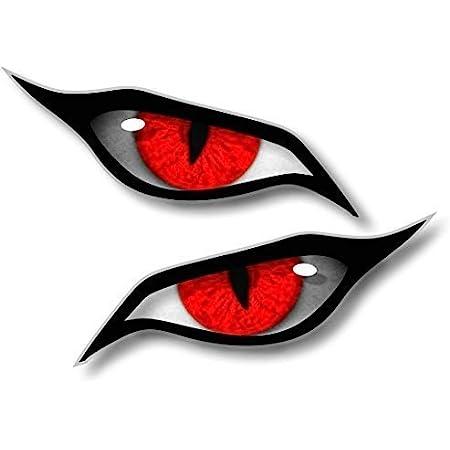 Paar Evil Eyes Mit Roten Iris Vinyl Drohne Motorrad Helm Auto Aufkleber Sticker 70x30mm Each Auto