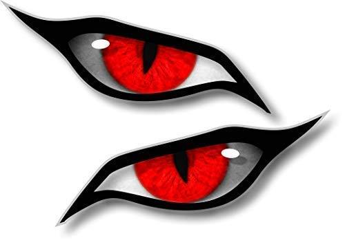 Paar Evil Eyes mit Roten Iris Vinyl Drohne Motorrad Helm Auto Aufkleber Sticker 70x30mm Each