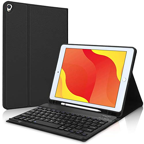New iPad 8th/7th Generation Case with Keyboard and Pencil Holder for iPad 10.2 inch, iPad Air 10.5 3rd Gen, iPad Pro 10.5 -Smart Detachable Bluetooth Keyboard Slim Leather Folio Cover (Black)