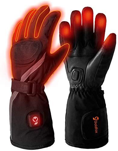 Beheizbare Handschuhe Motorrad Herren und Damen mit 3 Stufen Temperaturregler, Beheizte Handschuhe Schwarz mit 7.4V 2200 mAh Batterien für Radfahren, Motorrad, Winterski und Eislaufen Größe L