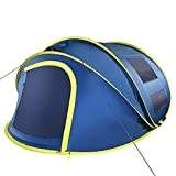 4 Person Pop up Tent, 9.5'X7'X50'', 10 Second Setup Tent, Waterproof Tent, 2 Big Doors and 2 Roof Vents, 4 Ventilated Mesh Windows, Instant Tent for Family, Blue