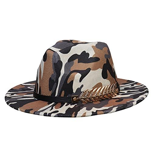 Jixin4you Sombrero de fieltro vintage para hombre y mujer, sombrero de ala ancha Panamá, gorra de jazz con hebilla, N: Marrón camuflaje, Taille unique