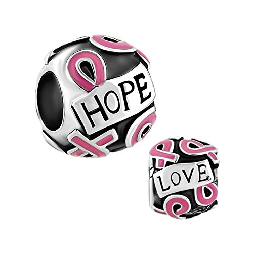 LovelyCharms Pink Ribbon Breast Cancer Hope Love Beads Fit Bracelets