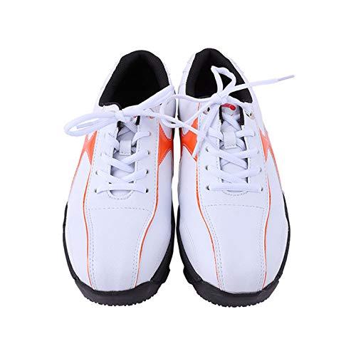 FJJLOVE Zapato De Golf para Hombre, Comodidad, Zapatos De Entrenador De Golf Antideslizantes De Confort, Zapatillas De Goma De Cuero Impermeables,Blanco,42