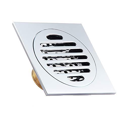 SHUGUANG Desagüe Ducha Cromo Cuadrado Desodorante Canaleta de Drenaje de Suelo Latón Coladores de Desagüe Rejilla para Patio, Baño y Cocina, 100×100 mm,Square A