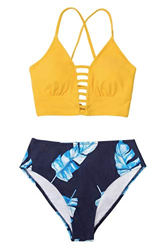 CUPSHE Femme Bikini à Bretelles Découpe Ensemble Bikini Motif Fleuri Maillots de Bain 2 Pièces