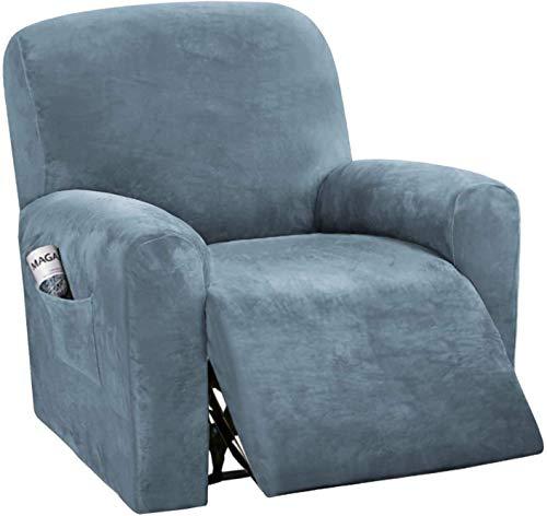 Fundas de sofá reclinables de 4 Piezas Fundas de sofá reclinables elásticas de Terciopelo para 1 cojín Fundas de sofá Fundas Gruesas, Suaves y Lavables para Muebles con Fondo elástico para s