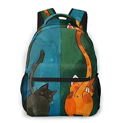 Lawenp Printing Six Cats Casual Backpack For School Outdoor Travel Big Student Fashion Bag