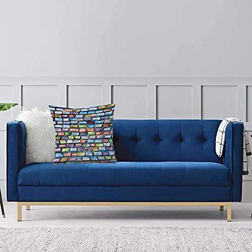 Set de 1 x Funda de Almohada 45x45 cm,Diseño geométrico y Colorido de la Pared de ladrillo del Modelo de los Azulejos de Mosaico con elFundas de Cojines de Calidad con una Suavidad Incomparable