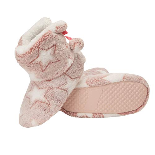 Jessica Simpson Girls Bootie Slippers - Fuzzy Comfy Plush Memory Foam Star Booties Anti-Slip House Slipper Shoe