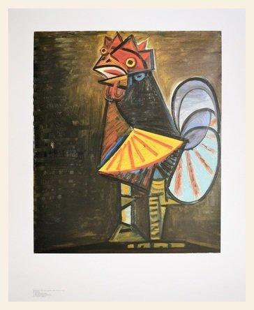 Germanposters Pablo Picasso Der Hahn Poster Kunstdruck Bild im Holz Rahmen in Ahorn Weiss lasiert 94,6x74,6cm