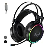 ETWAR USB Gaming Headset with Noise Cancelling Microphone for PC Playstation, 7.1 Surround Sound RGB Light Steelseries Frame Headphone Compatible with PS4 Laptop Mac iPad,EG100 Black
