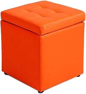 GWFVA Change Shoe Bench Storage Canapé Hall en Cuir à la Mode Multicolore en Option - 30 * 30 * 35cm (Couleur: Rouge Orange)