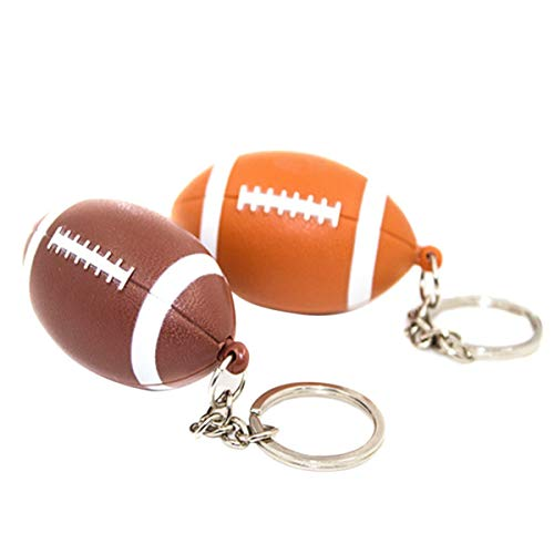 BESTOYARD Rugby Keychain American Football LED Sound Schlüsselanhänger für Schlüsseltasche Telefon Ornamente Super Bowl Party Supplies 2 Stücke