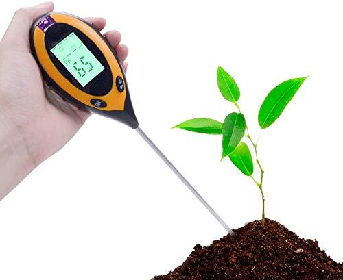 Misuratore ph terreno, Umidità del Suolo, Test del Suolo 4 in 1 Terreno Misuratore Strumento per Luce, Umidità, Acidi e Alcalini Strumenti per Piante Fiore Erba in Ambienti Interni o Esterni