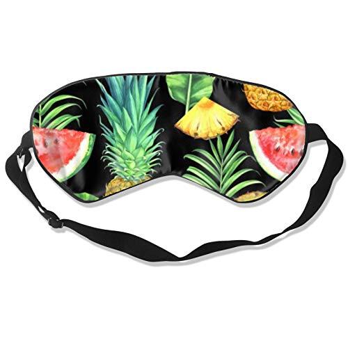 Pineapples sandías y hojas tropicales máscara para dormir con correa ajustable para la cabeza, cubierta duradera y suave para dormir toda la noche, viajes, trabajo por turno, meditación, siesta