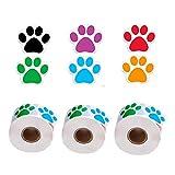 Metdek 3 Rollo de 1500 Piezas Pegatinas de Pata Coloridas Etiquetas de Pata de Perro Pegatinas de Impresión de Pata de Oso, Etiqueta de la Pared Etiqueta de la Pared Sala de Estar baño decoración