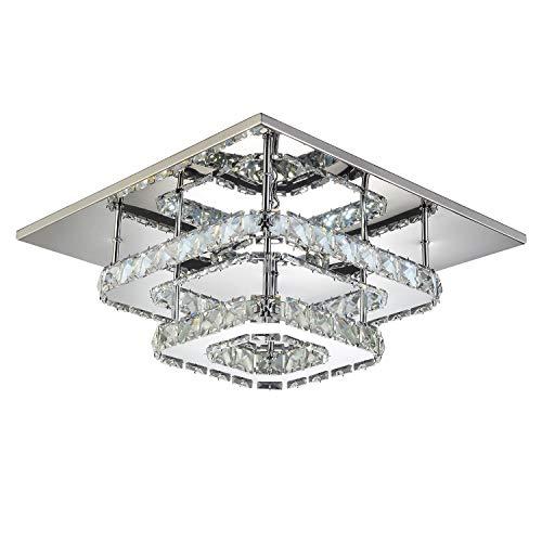 Plafoniera LED Soffitto, Lampadario soggiorno in cristallo, LED integrati 36W, Lampada moderna da soffitto per salotto o cucina, 230V IP20 (Bianco freddo)