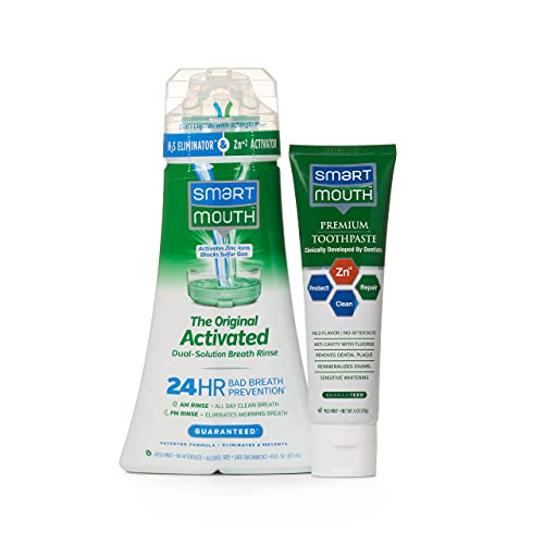 SmartMouth Original Activated Mouthwash & Premium Zinc Ion Toothpaste, Lasts 24 Hours, Mint