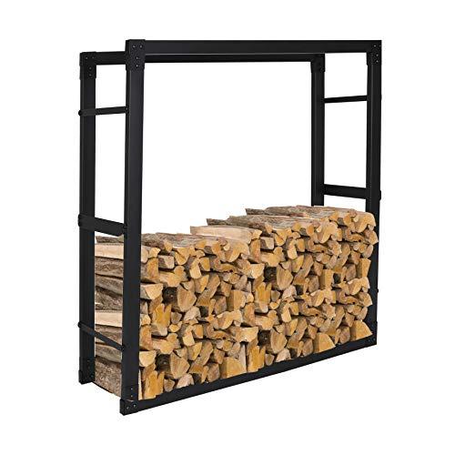 Ureprism Kaminholzregal Feuerholzregal Kaminholzständer Aus Schwarzem Metall für Holzscheite Stapelhilfe, Geeignet für drinnen und draußen, Größe:25x100x150 cm (DxWxH)
