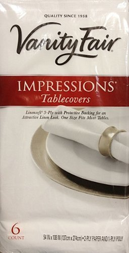 Vanity Fair Disposable Tablecovers, 3 Ply, 54 x 108, 6 Linensoft Tablecovers